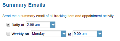 Summary emails section of Email Notifications where you can choose to receive daily emails at a specific time, or weekly emails on a specific day and time.