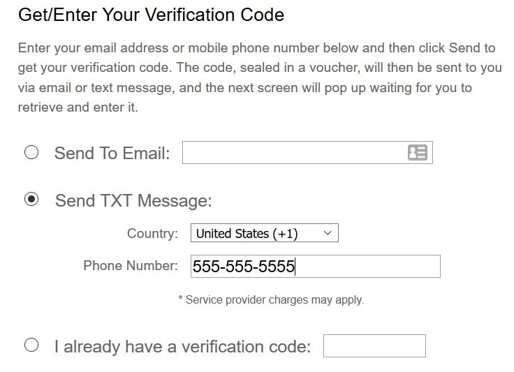 Get/Enter your verfication code