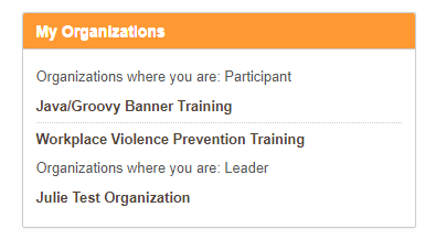 My Organizations in Blackboard