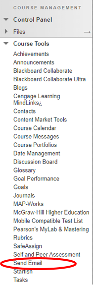 send email link in the course tools within the control panel