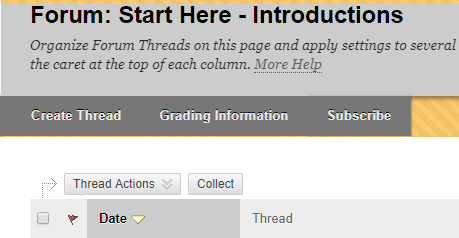 grading information button within discussion board forum