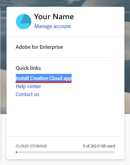 Click Install Creative Cloud app from your Quick links after login