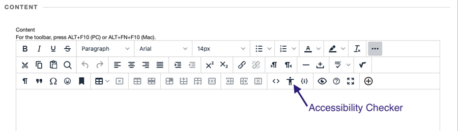 new html editor with accessibility checker