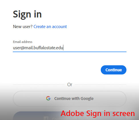 This image shows the Adobe sign-in screen, where users will enter their full student Gmail address.