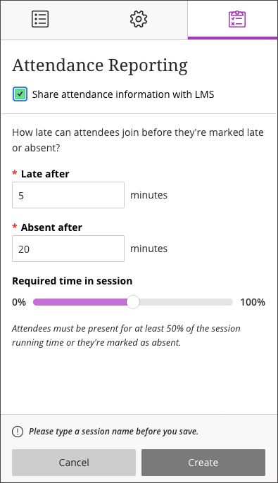 Screenshot of Blackboard Collaborate Attendance reporting settings