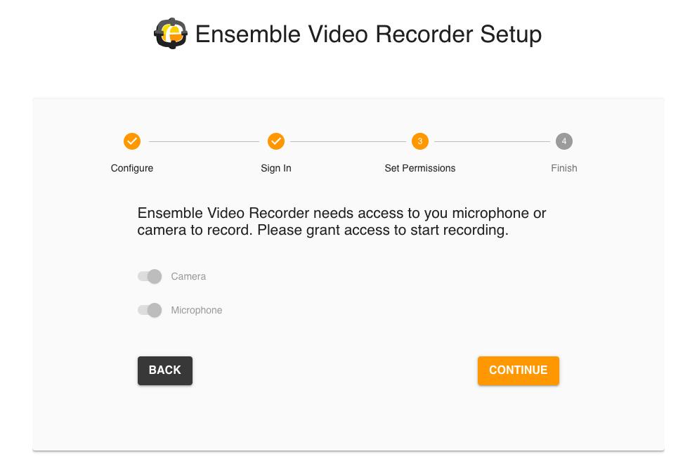 Ensemble Video Recorder Setup screenshot