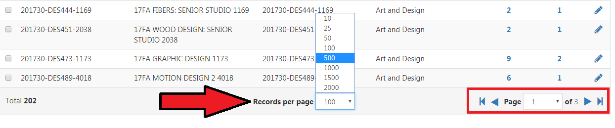 Records per page option listing numbers from 10, 25, 50, 100, 1000. 1500, 2000. Navigation from Page 1 of 3 in right corner.