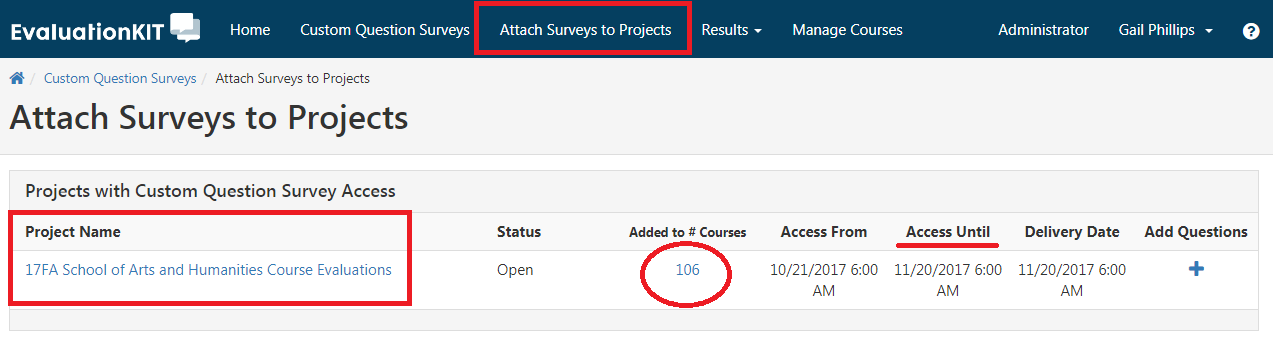 Attach Surveys to Projects and  Project Name boxed. Added to # courses with 106 circled. Access Until underlined with a date.