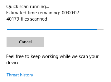 Image showing an example of a Quick Scan progress bar