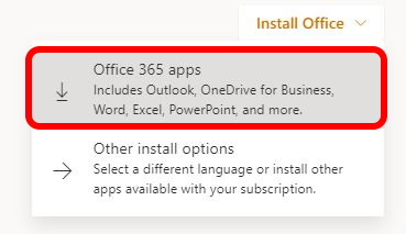 Click Install Office and select Office 365 apps
