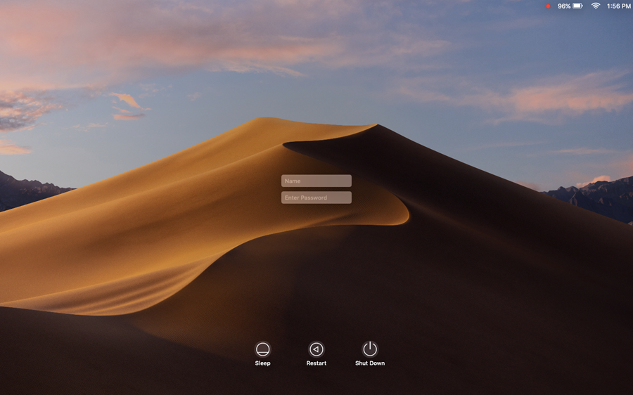 This image shows the main MacOS login screen