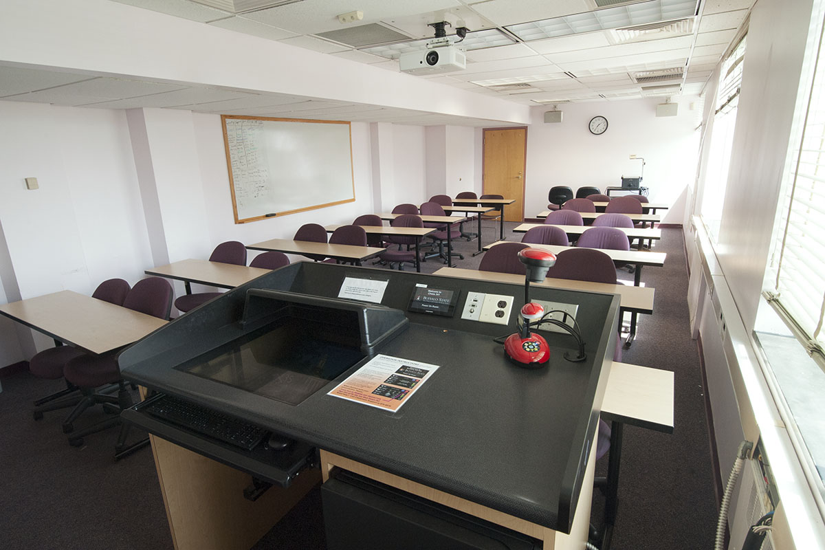 Wide angle room photo from presentation console.