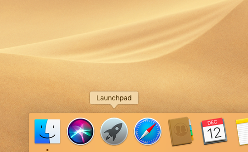 The Launchpad feature can be accessed from either the top-right magnifying-glass icon, or the rocket icon in the taskbar at the bottom of the screen.