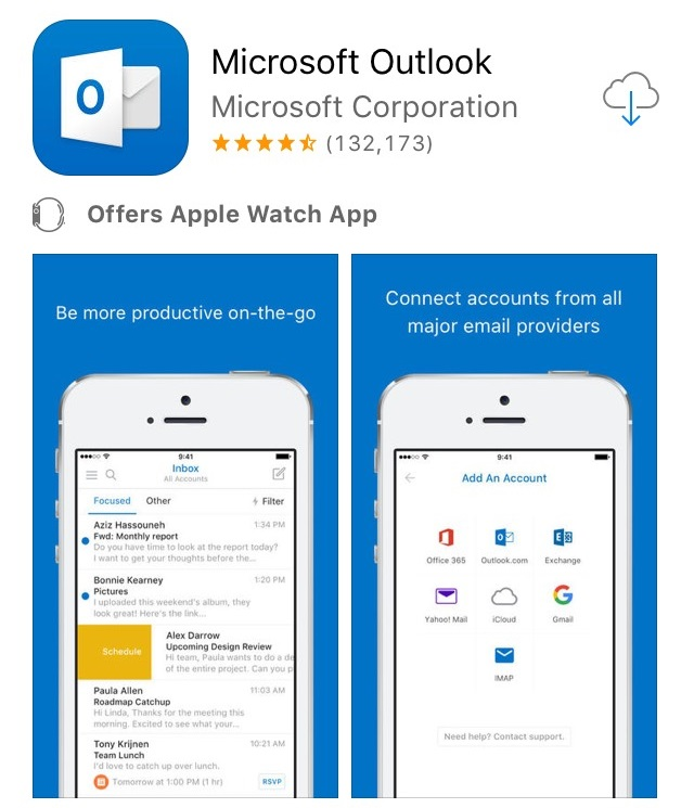 Download Outlook app from app store