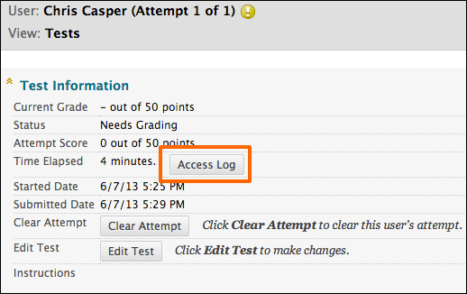 Test Information section displaying current grade, status, attempt score, time elapsed with Access Log option to the right of it. Below time elapsed is Started Date, Submitted Date, Clear Attempt option, Edit Test option.