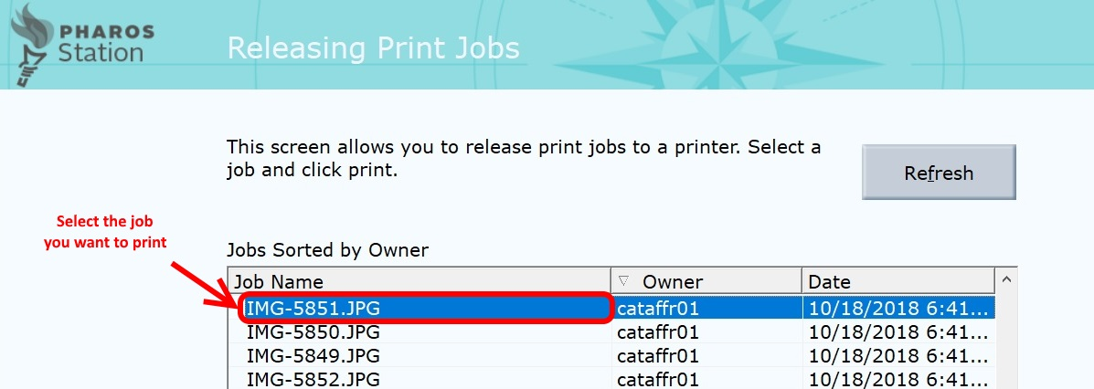 Select print job from list