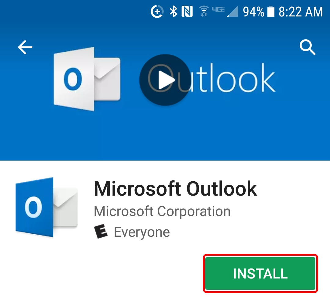 Download Outlook app from Play store