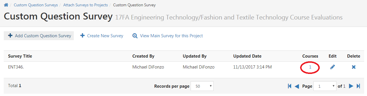 Custom Question Survey listed with 1 listed under Courses.