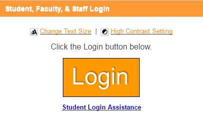 Student, Faculty, & Staff Login in header. Links for Change Text Size and High Contrast. Button labeled Login.