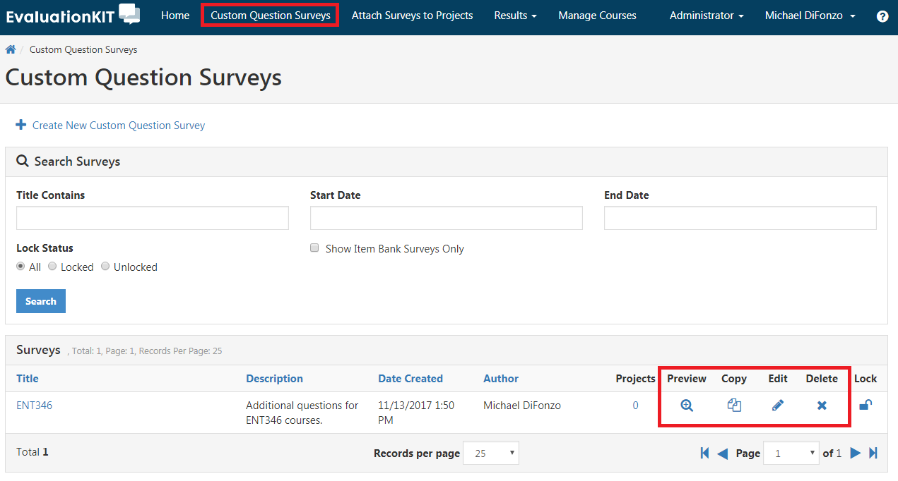 Custom Question Surveys tab in header area. Icons for preview, copy, edit, or delete in lower-right.