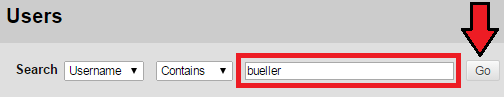 User Search bar with options username, contains, bueller