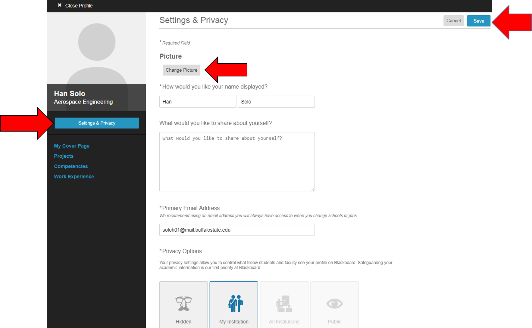 Settings & Privacy. Change Picture.
