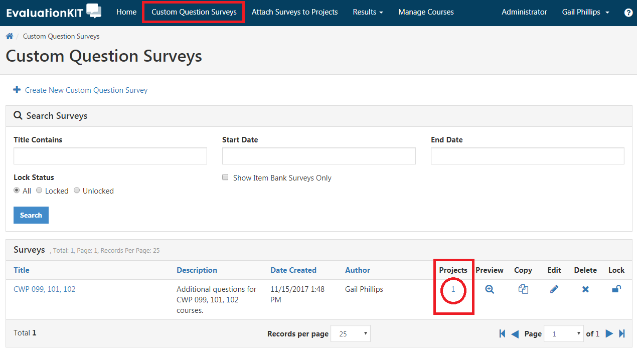 Custom Question Survey tab boxed in. Projects with 1 circled.