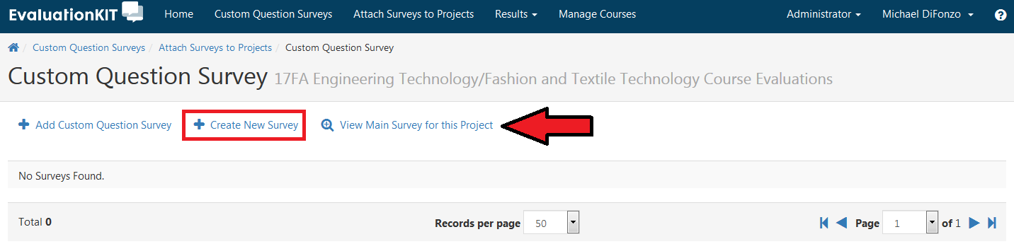 Options to Add Custom Survey, Create New Survey, and View Main Survey for this Project.