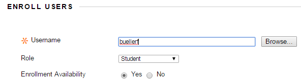 Enroll Users with the selected user displayed.