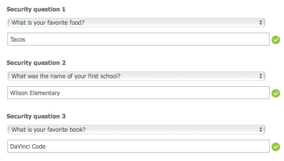 authentication by security question