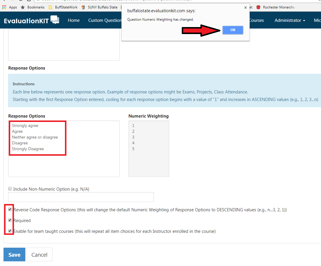 Type in Item Choices, select the Reverse Code, Required, and Enable for team-taught courses options. Click OK window.