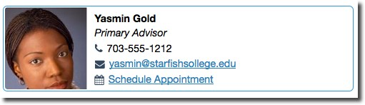 Adviser profile with link to schedule an appointment