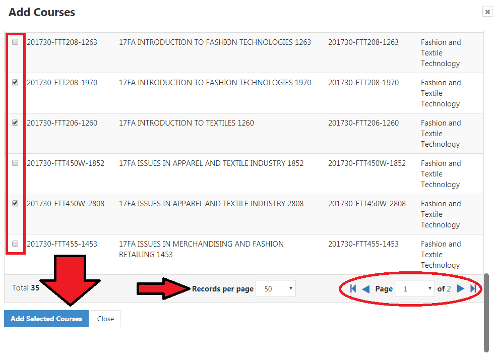 List of courses that can be selected. Add Selected Courses link on bottom left. Page 1 of 2 buttons on bottom-right.