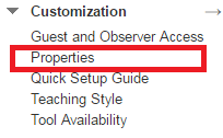 Customization, Guest and Observer Access, Properties, Quick Setup Guide, Teaching Style, Tool Availability.