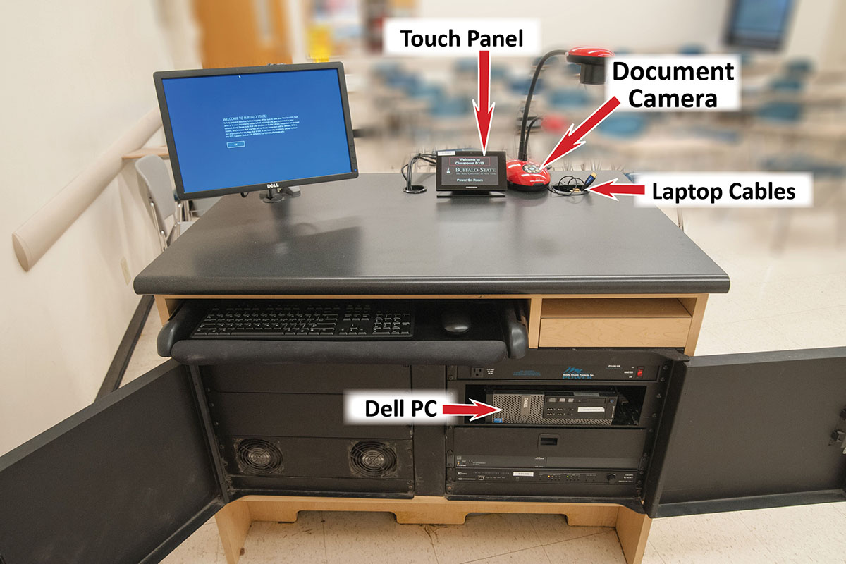 Photo of components in presentation console.