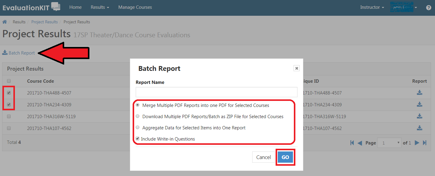 Labeled Project Results with a list of courses and some are selected. A new window labeled Batch Report with option for Report Name and radio options to select either Merge Multiple PDF Reports into one PDF for Selected Courses, Download Multiple PDF Reports/Batch as ZIP File for Selected Courses, or Aggregate Data for Selected Items into One Report. Checkbox option for Include Write-in Questions. Buttons for Cancel or Go on bottom right.
