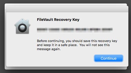 The Recovery Key screen will display the user's key for some time before the Continue button key can be clicked to finalize the setup.