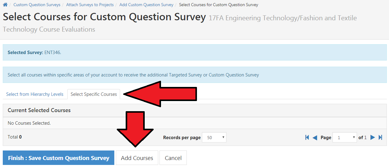 Click Select Specific Courses tab and Add Courses.