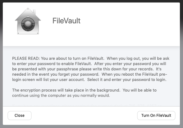 The FileVault screen before it displays the Recovery Key will outline the remaining steps of the setup process.