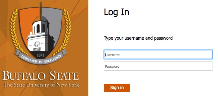 Buffalo State sign-in screen
